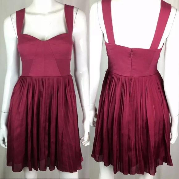 bebe Dresses & Skirts - Bebe Satin Mesh Pleated Stretchy Fit & Flare Dress